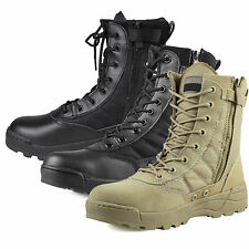 Mens Combat Faux Leather Ankle Boots Comfort Durable Tactical Army Shoes Outdoor