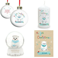Personalised My First 1st Christmas Xmas Polar Bear Gifts For Baby Babies Child
