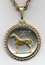 "Irish 20 Pence ""Horse"" Handcrafted Silver and 24 k Gold Plated Coin Necklace"