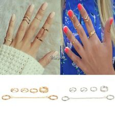 6pcs / Set Gold Urban Rings Crystal Above Knuckle stacking Band Midi Mid UTAR