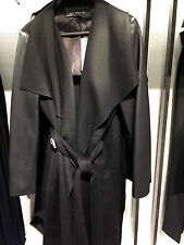 ZARA BLACK WOOL COAT WITH COMBINATION LEATHER SLEEVE WIDE LAPEL Ref. 8269/608