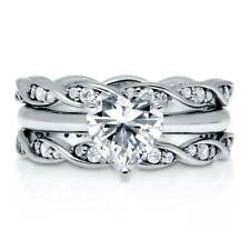 BERRICLE 925 Silver Heart Shaped CZ  Solitaire Engagement Ring Set 1.29 Carat