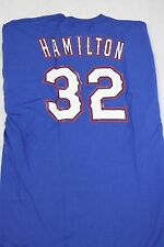 NEW Mens MAJESTIC Texas RANGERS Josh HAMILTON #32 Baseball MLB Blue T-Shirt