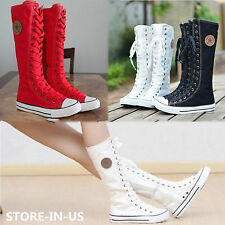 PUNK EMO Women Girl Shoes Canvas Flat Tall Boots Zip Lace Up Knee High Sneaker A
