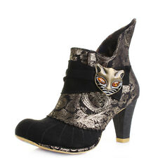 Womens Irregular Choice Miaow Black Gold Heeled Ankle Boots UK Size