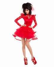 Women's Beetlejuice Lydia Deetz Bridal Outfit Halloween Costume Goth Red Dress