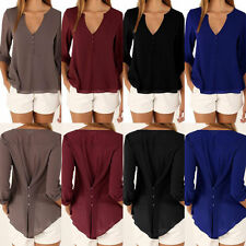 Sexy Women V-Neck Loose Button Down Long Sleeve Maxi Casual Shirts S-XXL Trendy