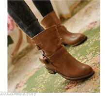 New Fashion Women Combat Boots Worker Low Heel Casual Buckle Flat Punk Shoes