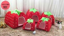 Dog Cat Strawberry Pet Basket Kennel House Warm Puppy Doggy Cushion Soft Bed