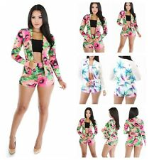 Women Sexy Fashion Floral Print Jumpsuit Top + Shorts Bodycon Two-piece Clubwear