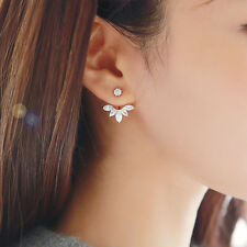 Elegant Women's Flower Earrings Crystal Rhinestone Leaf Ear Stud Jewelry Popular