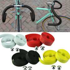 2x Adhesive Handle Belt Bike Bicycle Cork Handlebar Tape Wrap Grips +2 Bar Plug