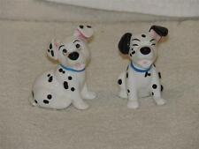 """Two Disney 101 Dalmatians China Figurines Puppy Dog Rolly Lucky 2 1/4"""""""