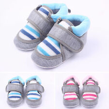 Toddler Baby Boy Girl Striped Crib Shoes Soft Bottom Comfy Casual First Walkers