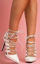 Women's Ladies Strappy Cut Out High Stiletto Party Evening Heels