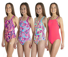 Speedo Girls Swimsuit Solid Rippleback Size 152
