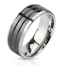 Coolbodyart Stainless Steel Unisex Ring Silver black Grooved Line 3 Stripes