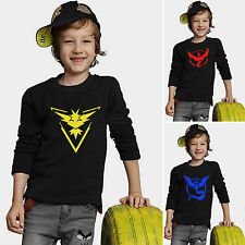 Pokemon Go Kids Baby Boys Girls Black T-Shirt Tee Long Sleeve Casual Clothes