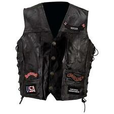 Diamond Plate Rock Design Genuine Buffalo Leather Vest Motorcycle Biker Vest