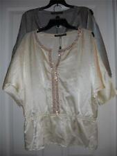 Peasant Style Blouse w/ Sequins NEW BY Rose & Olive Size L Compare at $49.00