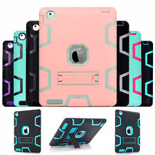 Shockproof Heavy Hybrid Rubber Stand Case Cover For iPad 2/3/4 2nd 3rd 4th Gen