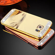 Bling Diamond Aluminum Frame PC Mirror Back Cover Case For Samsung Galaxy/iPhone