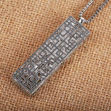 Crystal  Necklace  Pendant  Long chain Fashion rectangle  Statement  Hollow
