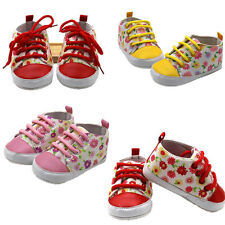 1Pair Anti Skid T-Tailed Soft Floral Infant Toddler Newborn Baby Canvas Shoes