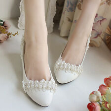 White Beading Lace Flowers Wedding Shoes Flat High Heels Pumps Bridal Shoes