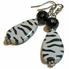 Cool Black and White Zebra Striped Bead Earrings By SoniaMcD