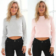 Womens Sexy Belly Cropped Sweatershirt Tops Jumpers Slim New Fall Outwear Coat