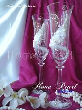White Winter Wedding Personalized Champagne Toasting Glasses Flutes Bride Groom