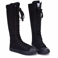Womens Punk Gothic Black White Canvas Boots Sports Shoes Sneakers Knee High J07