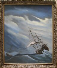 "OLD DUTCH SEASCAPE SCENE WITH A BOAT AT OPEN SEA, ""P. van WEERT"", BAROQUE FRAME!"