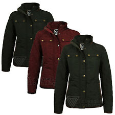 Ladies Quilted Zip And Button Farmer Riding Jacket Elbow Patch Diamond Embossed
