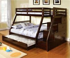 Bunk Beds Twin Over Full Bedroom Furniture Trundle Stairs Drawers Kids Wood New