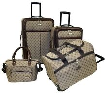 4 Piece Luggage Set Upright Rolling Travel Bag Wheeled Duffle Carry-On Cosmetic