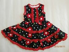 BNWT GIRLS SUMMER NAVY - RED COTTON FLORAL DRESS - SIZE 1 TO 5