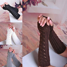 Women Lady Girls Arm Warmer Long Fingerless Knit Mitten Winter Gloves 1 Pairs 25