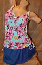 NEW Jantzen 2PC Side Ruched TANKINI Skirtini Swim Suit Pink Hibiscus Blue