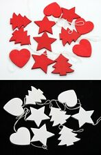 18x Christmas Wooden Hanging Ornament Xmas Decoration Décor Hearts Trees Stars