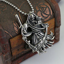 Mens Punk Gothic Vintage Silver Skull Bull Head Pendant Necklace Steel Chain Hot