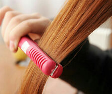 Hot Pink Straightening Mini Hair Straightener comb Curls Ceramic Electronic Iron