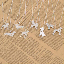 Shepherd Dachshund Bulldog Charm Hot Dog Chain Puppy Pendant Necklace Silver