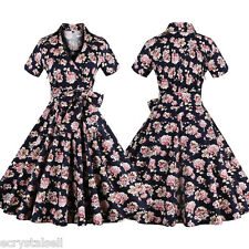Women's 1950s Housewife Pinup Vintage Style Swing Evening Party Dress Plus Size