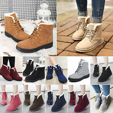 2016 Women's Flat Lace Up Fur Lined Winter Martin Boots Snow Ankle Boots Shoes