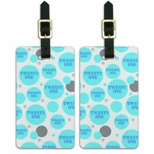 Luggage Suitcase Carry-On ID Tags Set of 2 Birthday Party Diamond Pattern Blue