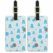 Luggage Suitcase ID Tags Set of 2 Letter Initial Baby Boy Block Font Blue Shower