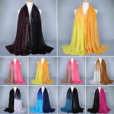 Women Lady Long Soft Voile Scarf Scarves Gradient Color Stole Shawl Wrap Scarves