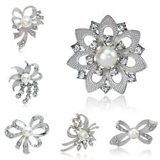 Vintage Women Flower Bridal Brooch Rhinestone Crystal Diamante Silver Broach Pin